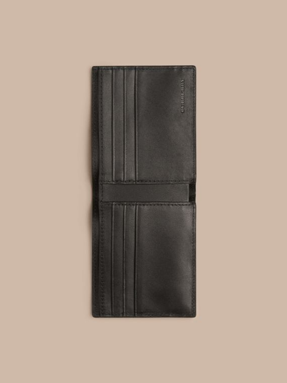 London Check and Leather Bifold Wallet in Chocolate/black - cell image 3