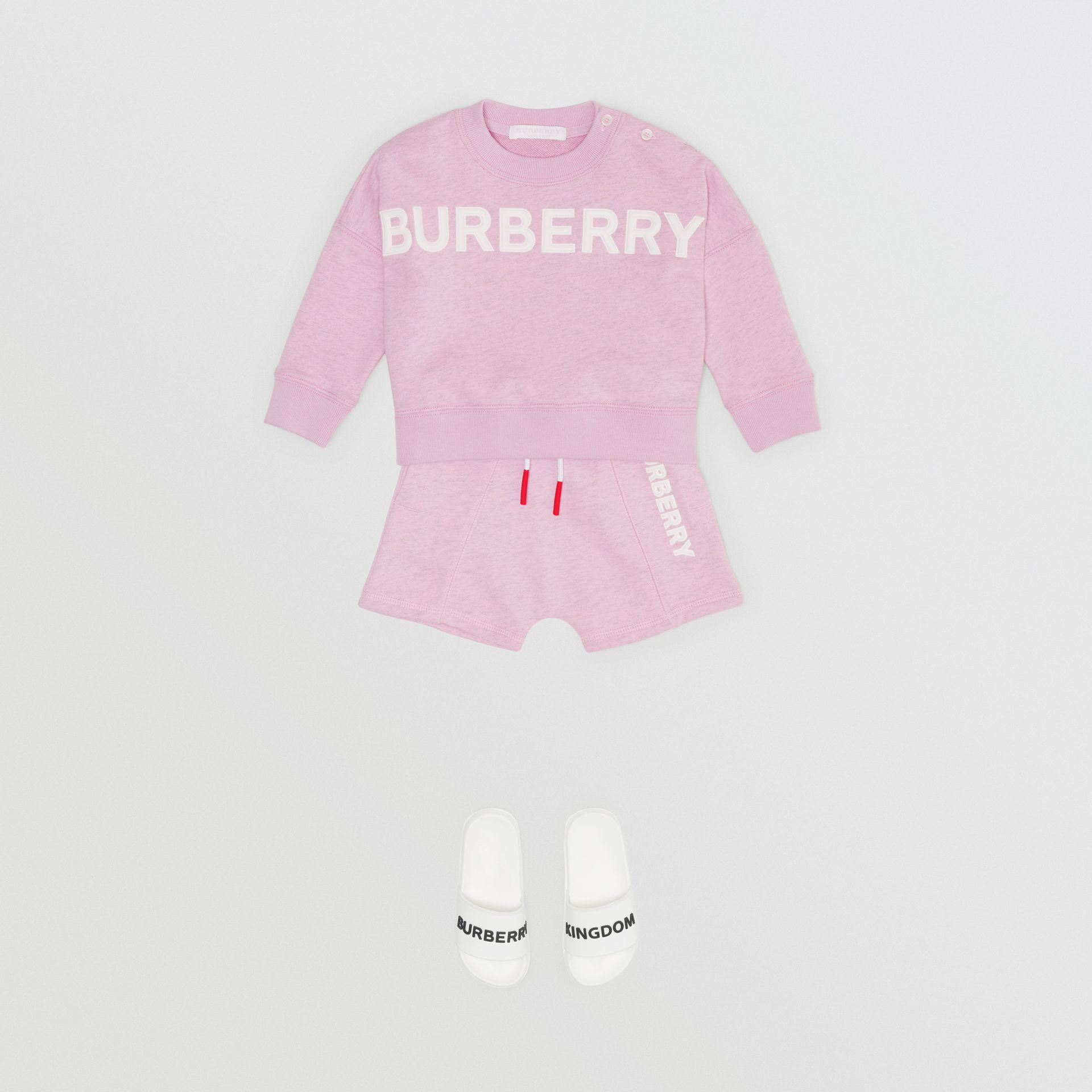 Logo Detail Cotton Sweatshirt in Pale Neon Pink - Children | Burberry - gallery image 2