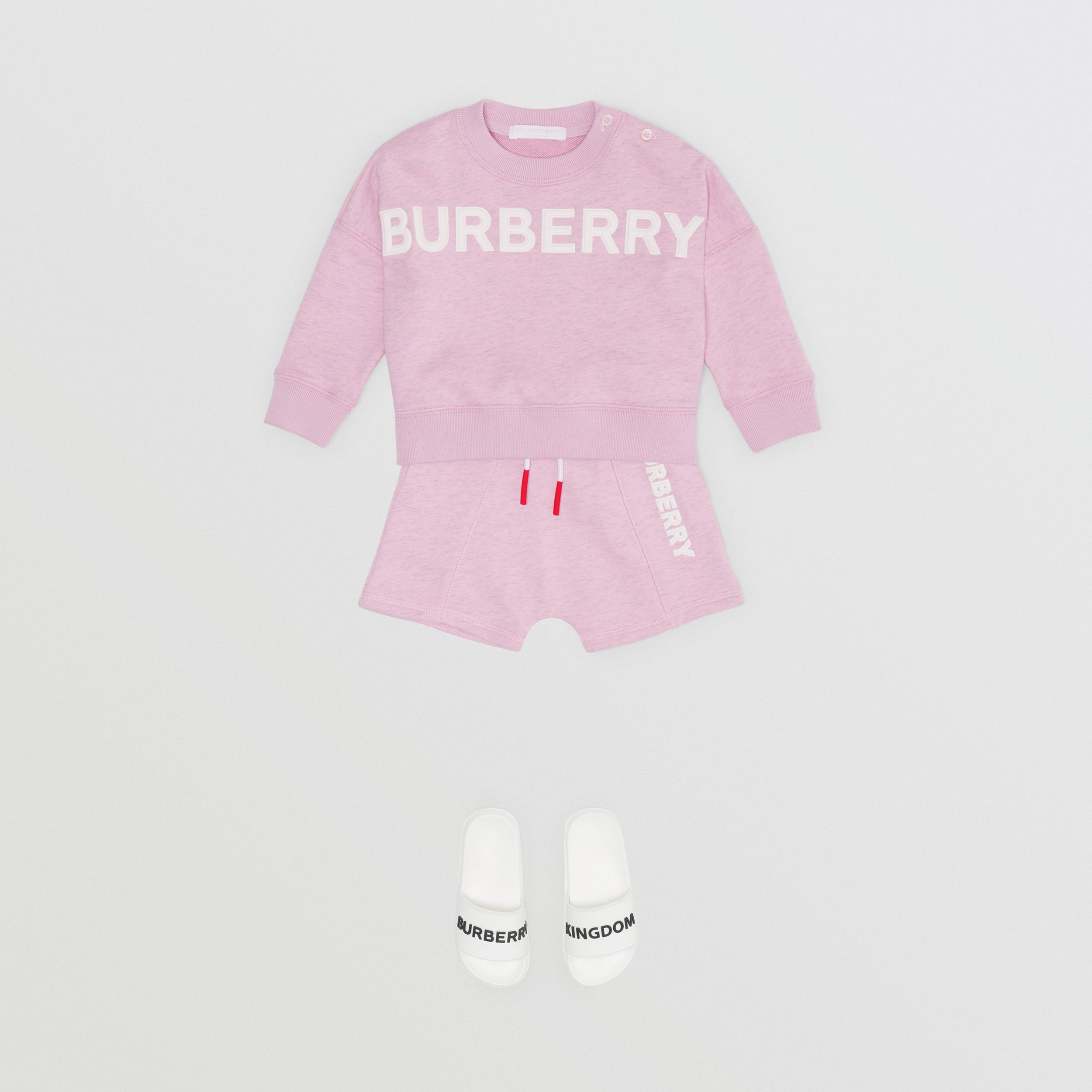 Logo Detail Cotton Sweatshirt in Pale Neon Pink | Burberry - 3