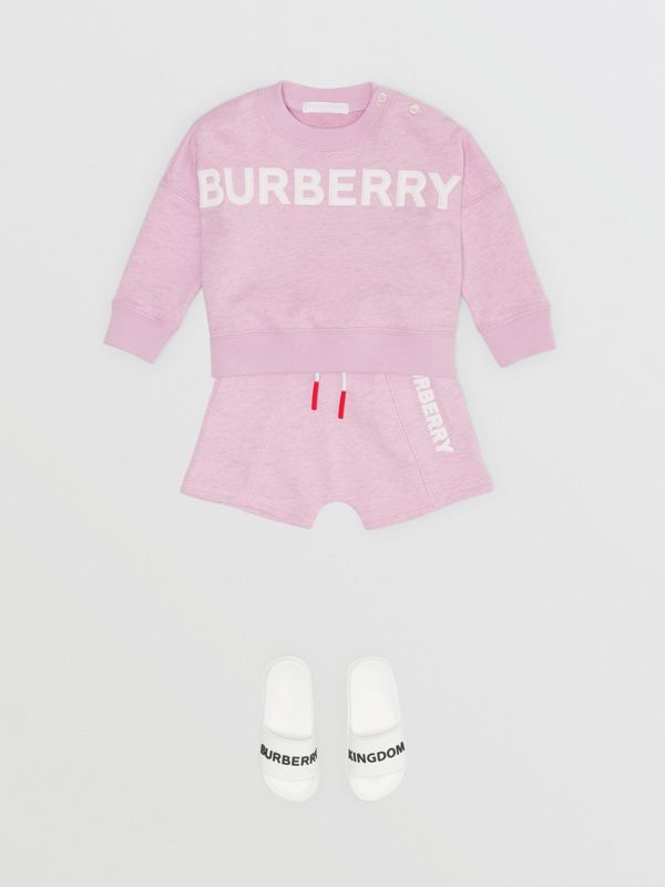 Logo Detail Cotton Sweatshirt in Pale Neon Pink - Children | Burberry - cell image 2