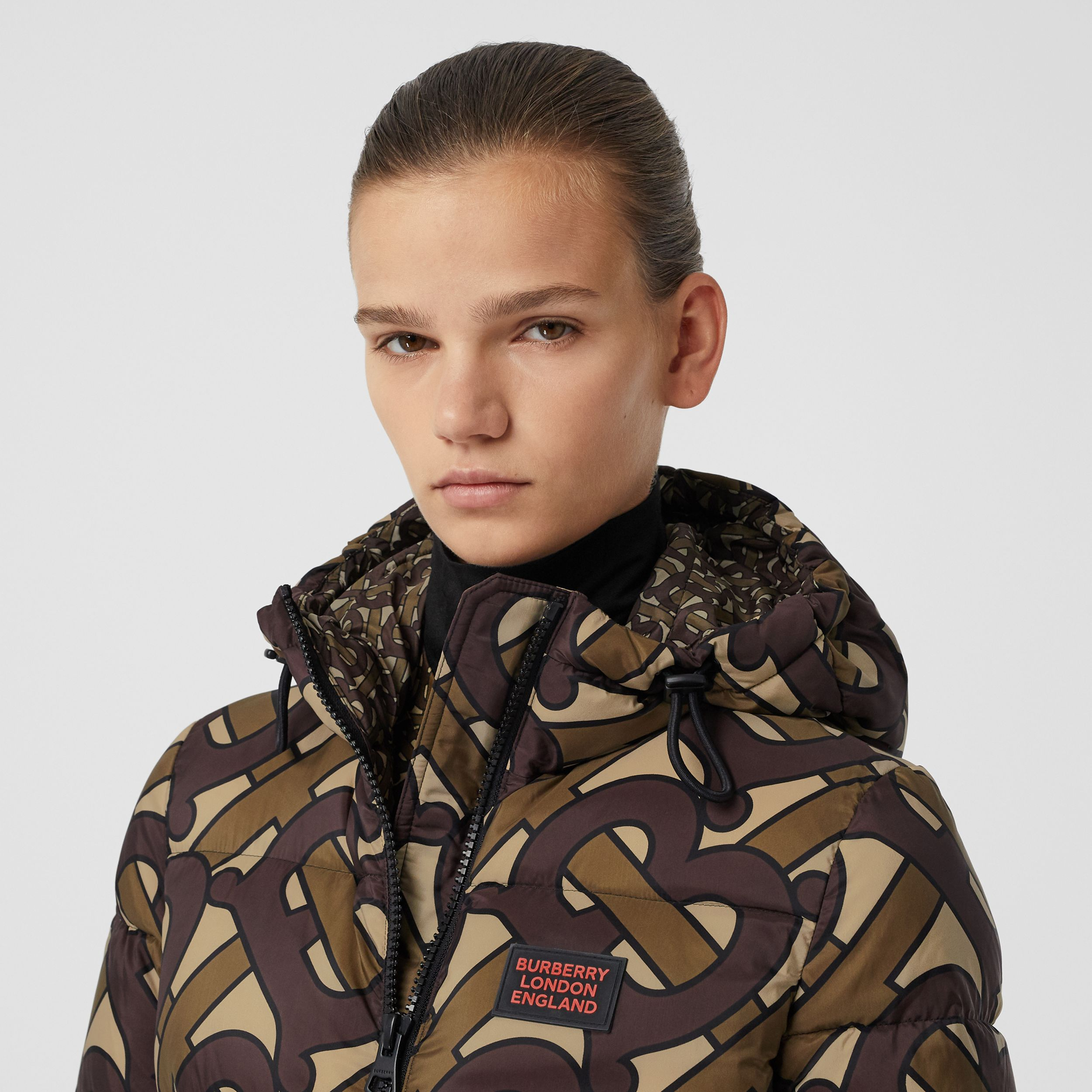 Monogram Print Hooded Puffer Jacket in Bridle Brown - Women | Burberry - 2
