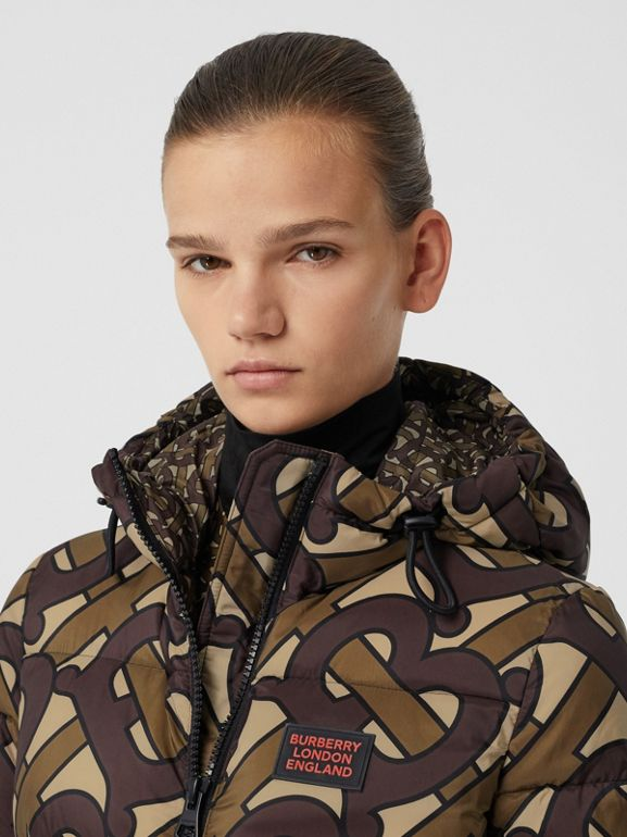 Monogram Print Hooded Puffer Jacket in Bridle Brown - Women | Burberry Singapore - cell image 1