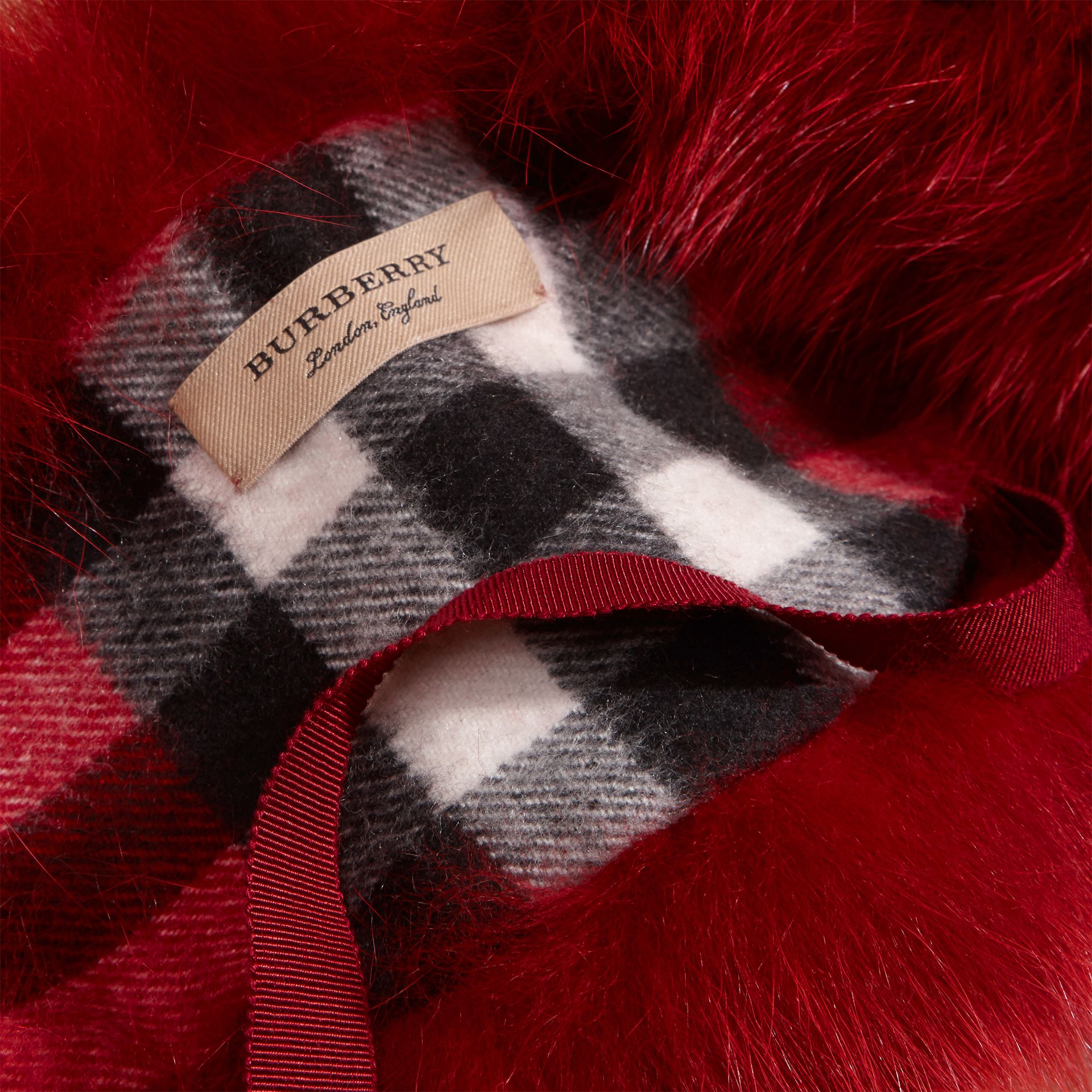 Parade red check Fox Fur Collar with Check Cashmere Lining Parade Red - gallery image 2