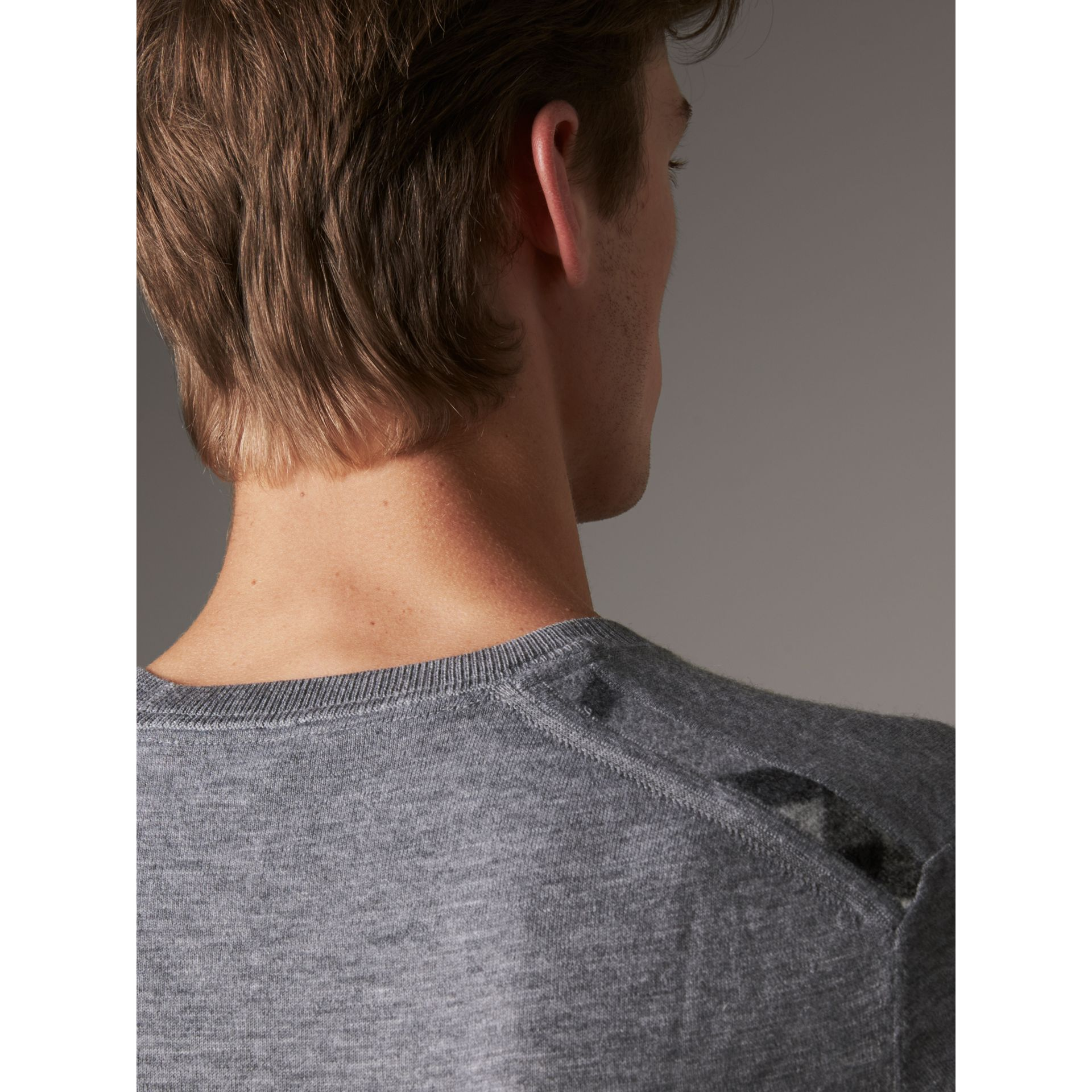Lightweight Crew Neck Cashmere Sweater with Check Trim in Pale Grey Melange - Men | Burberry Australia - gallery image 2