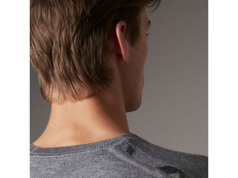 Lightweight Crew Neck Cashmere Sweater with Check Trim in Pale Grey Melange - Men | Burberry Australia - cell image 1