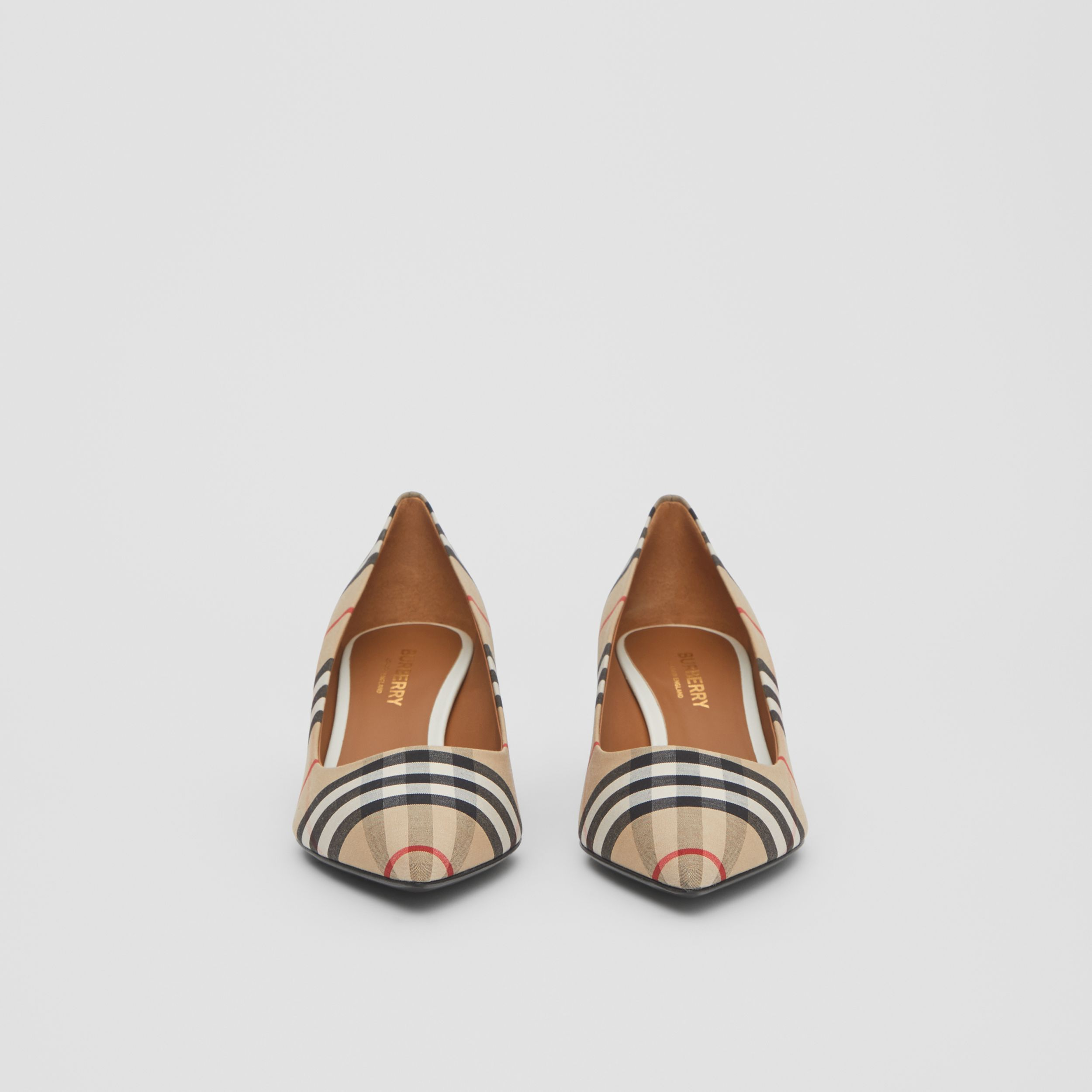 Vintage Check Cotton Pumps in Archive Beige - Women | Burberry - 4