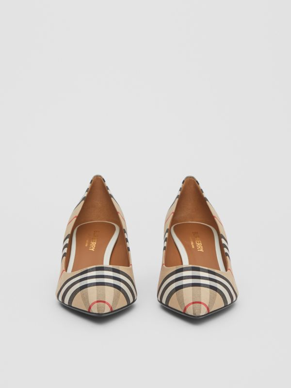 Vintage Check Cotton Pumps in Archive Beige - Women | Burberry United Kingdom - cell image 2