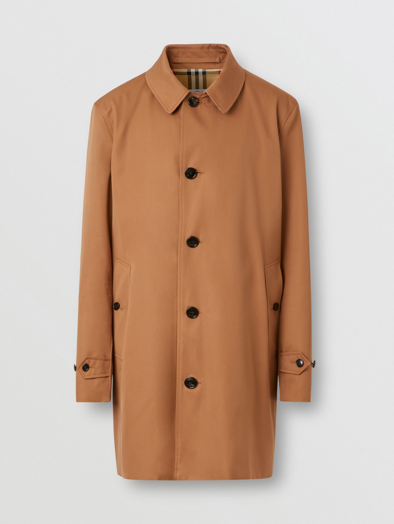 Cotton Gabardine Car Coat in Dusty Caramel