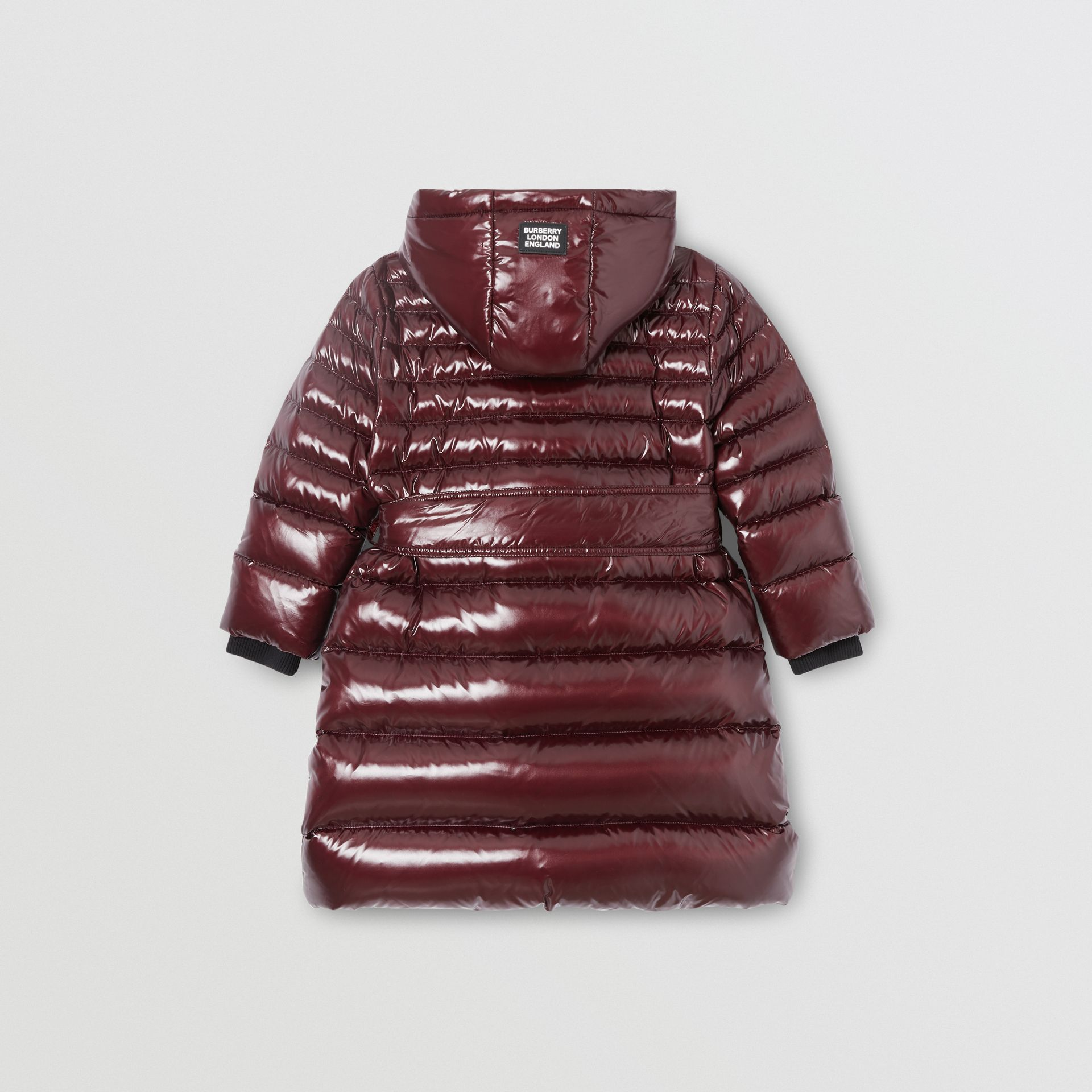 Icon Stripe Detail Down-filled Hooded Puffer Coat in Burgundy | Burberry Australia - gallery image 3
