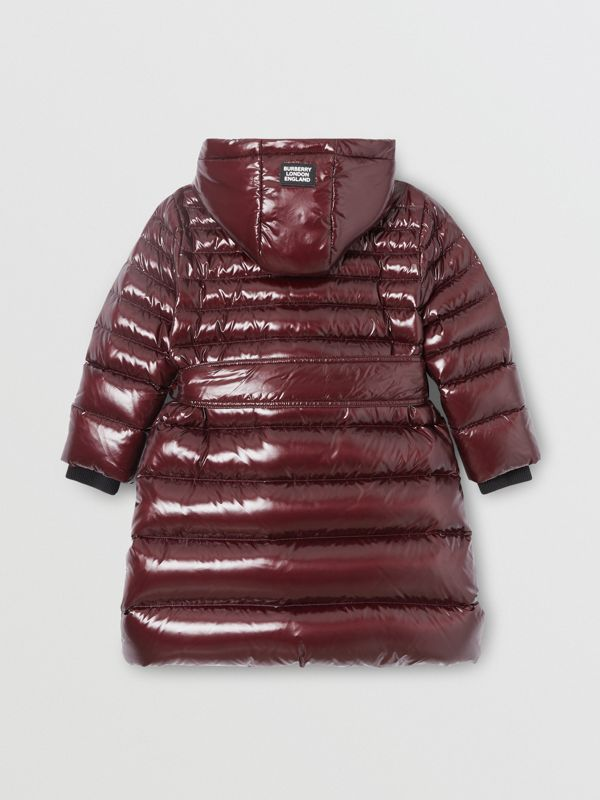 Icon Stripe Detail Down-filled Hooded Puffer Coat in Burgundy | Burberry - cell image 3