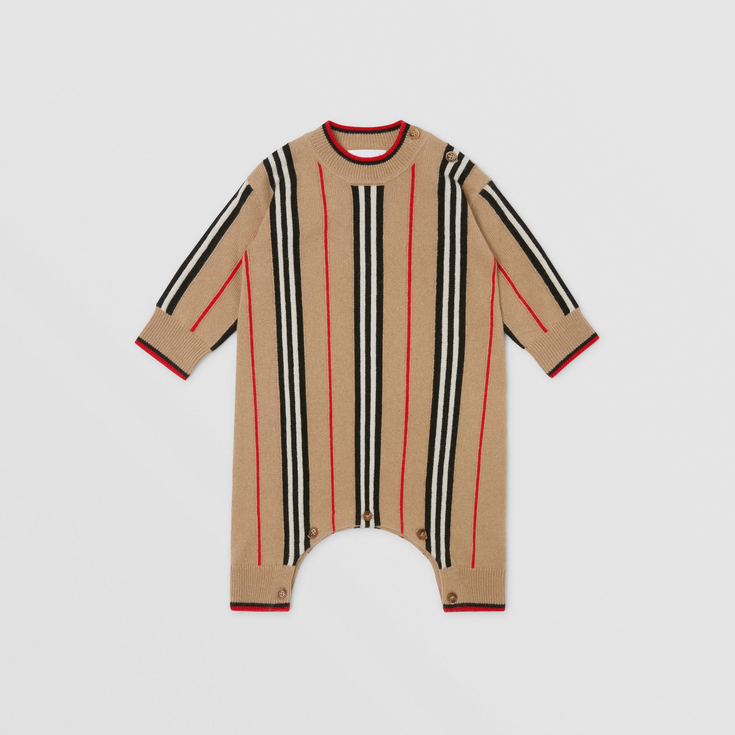 Icon Stripe Cashmere Wool Jumpsuit in Archive Beige - Children | Burberry - 3