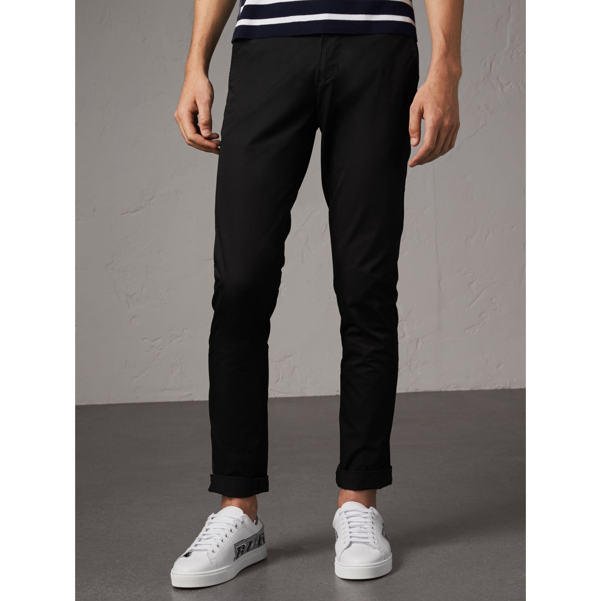 Slim Fit Cotton Chinos in Black - Men | Burberry - gallery image 5