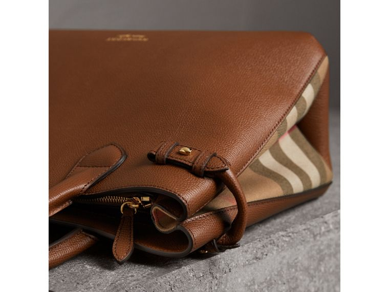 The Medium Banner in Leather and House Check in Tan - Women | Burberry Australia - cell image 1