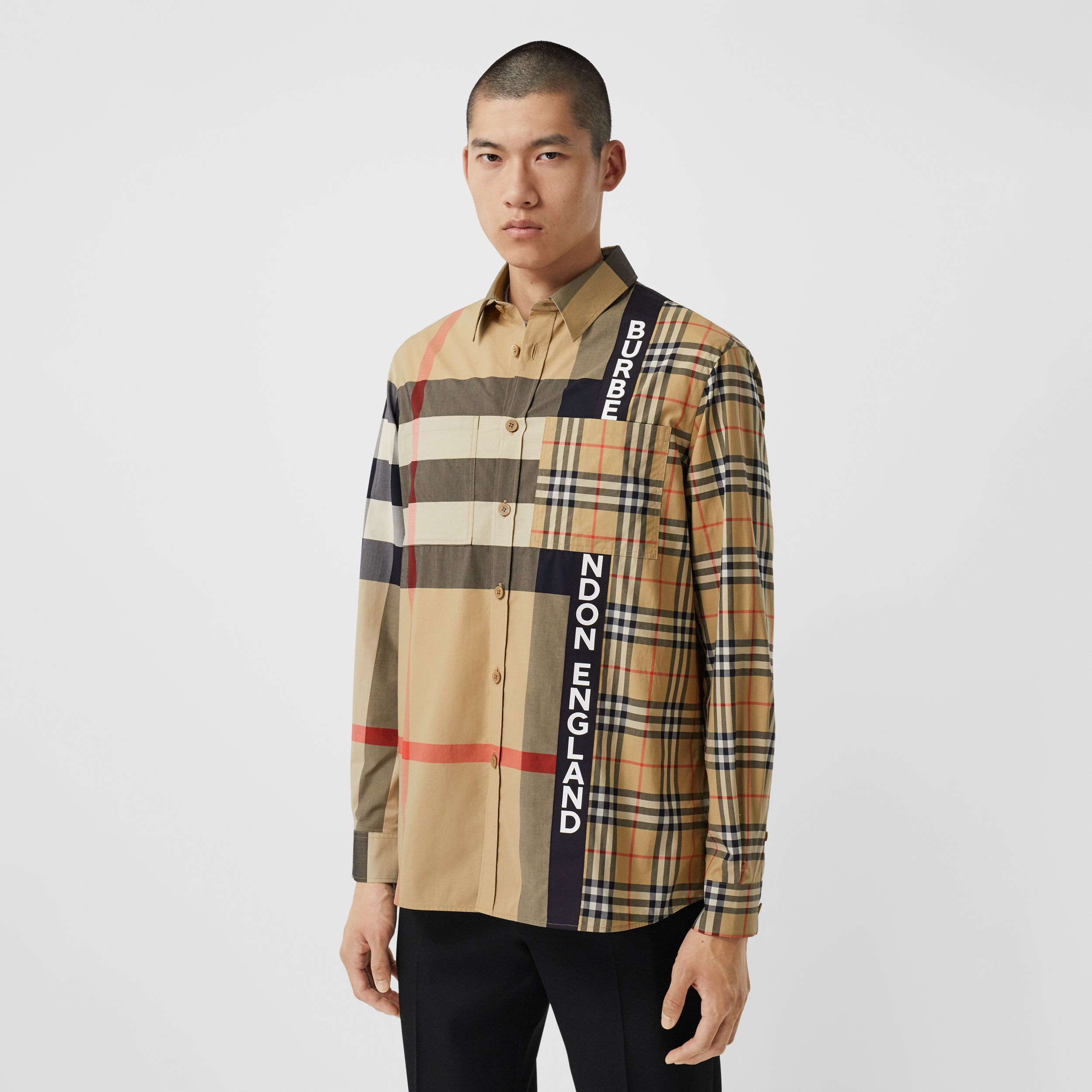Logo Print Patchwork Check Cotton Oversized Shirt in Archive Beige - Men | Burberry - 1