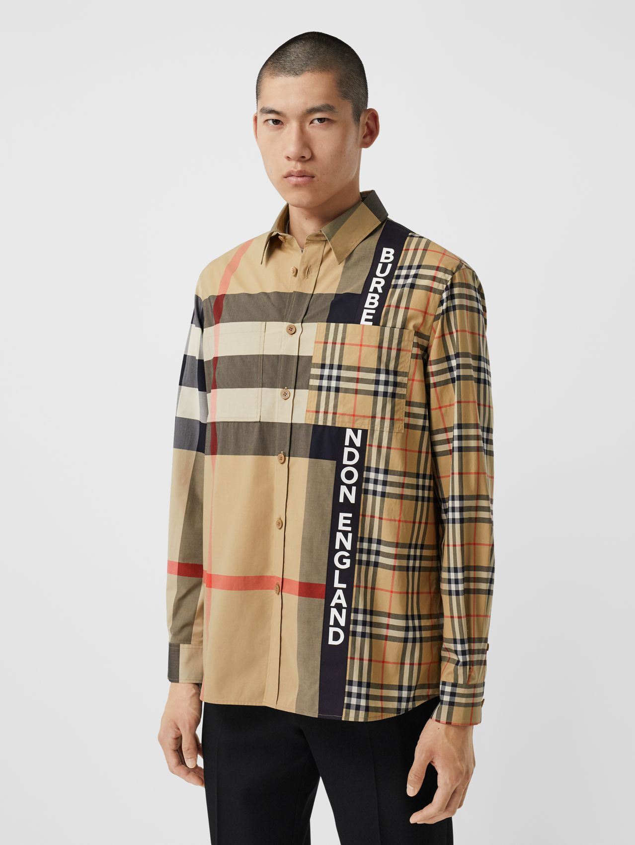 Logo Print Patchwork Check Cotton Oversized Shirt in Archive Beige