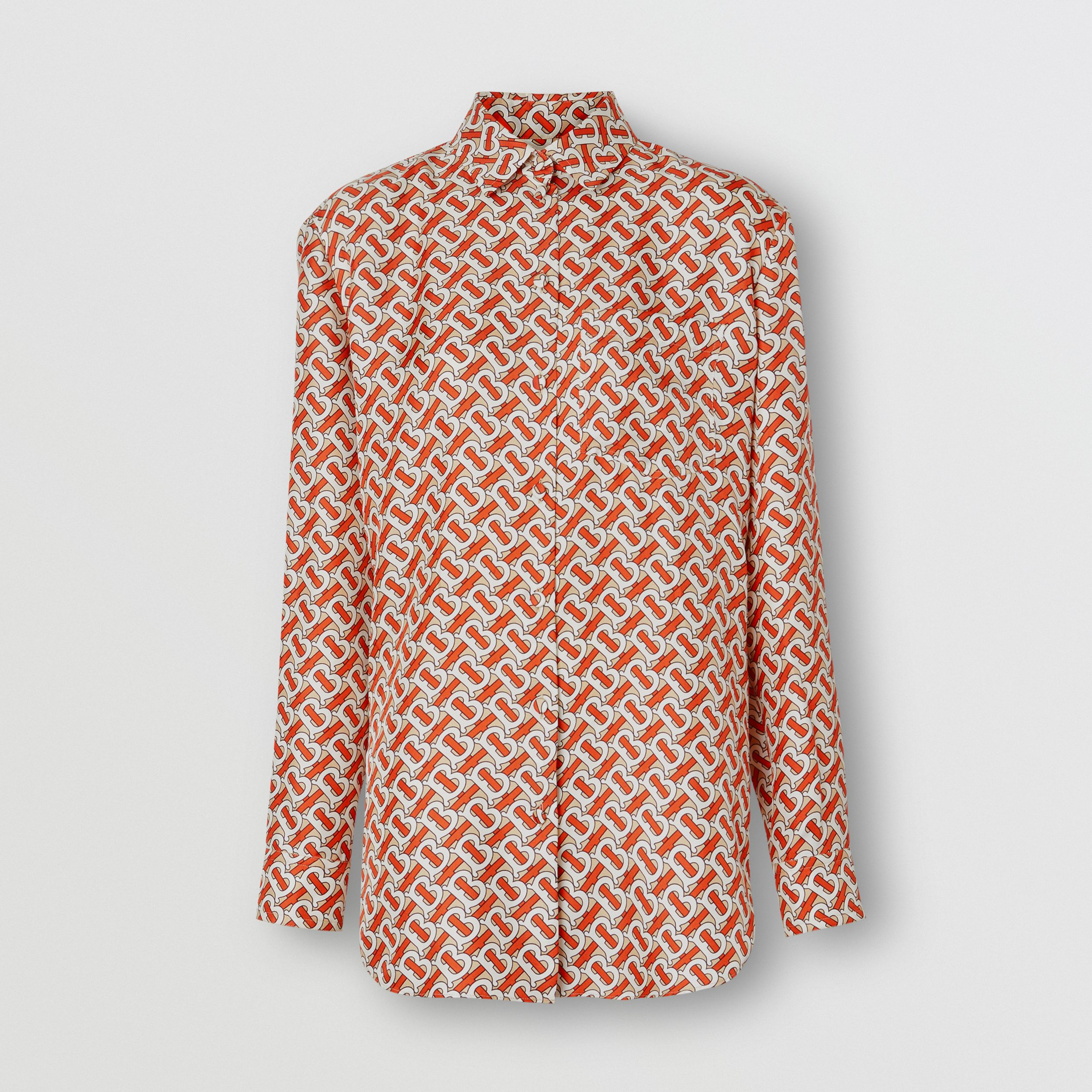 Monogram Print Silk Oversized Shirt in Vermillion Red - Women | Burberry - 4