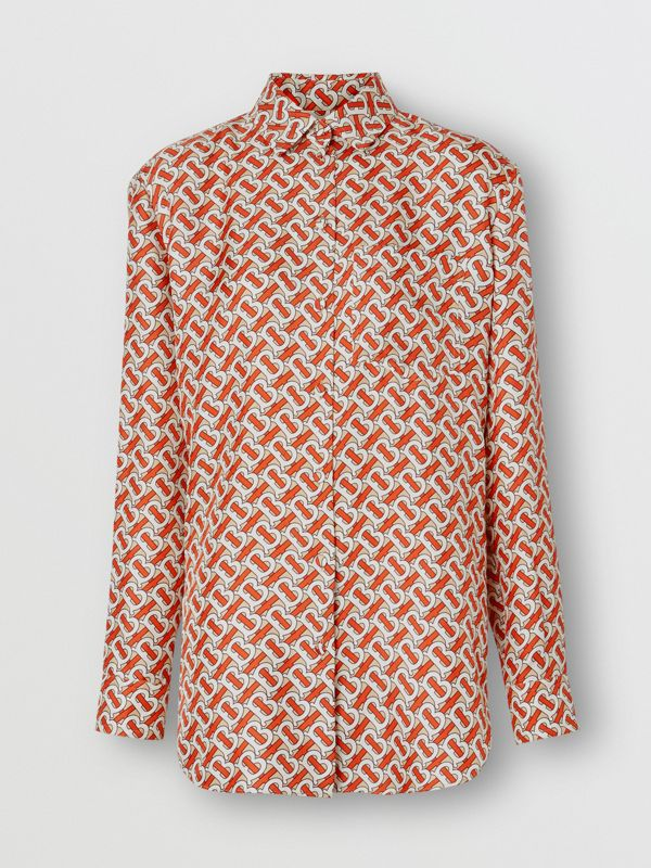 Monogram Print Silk Oversized Shirt in Vermillion Red - Women | Burberry - cell image 3