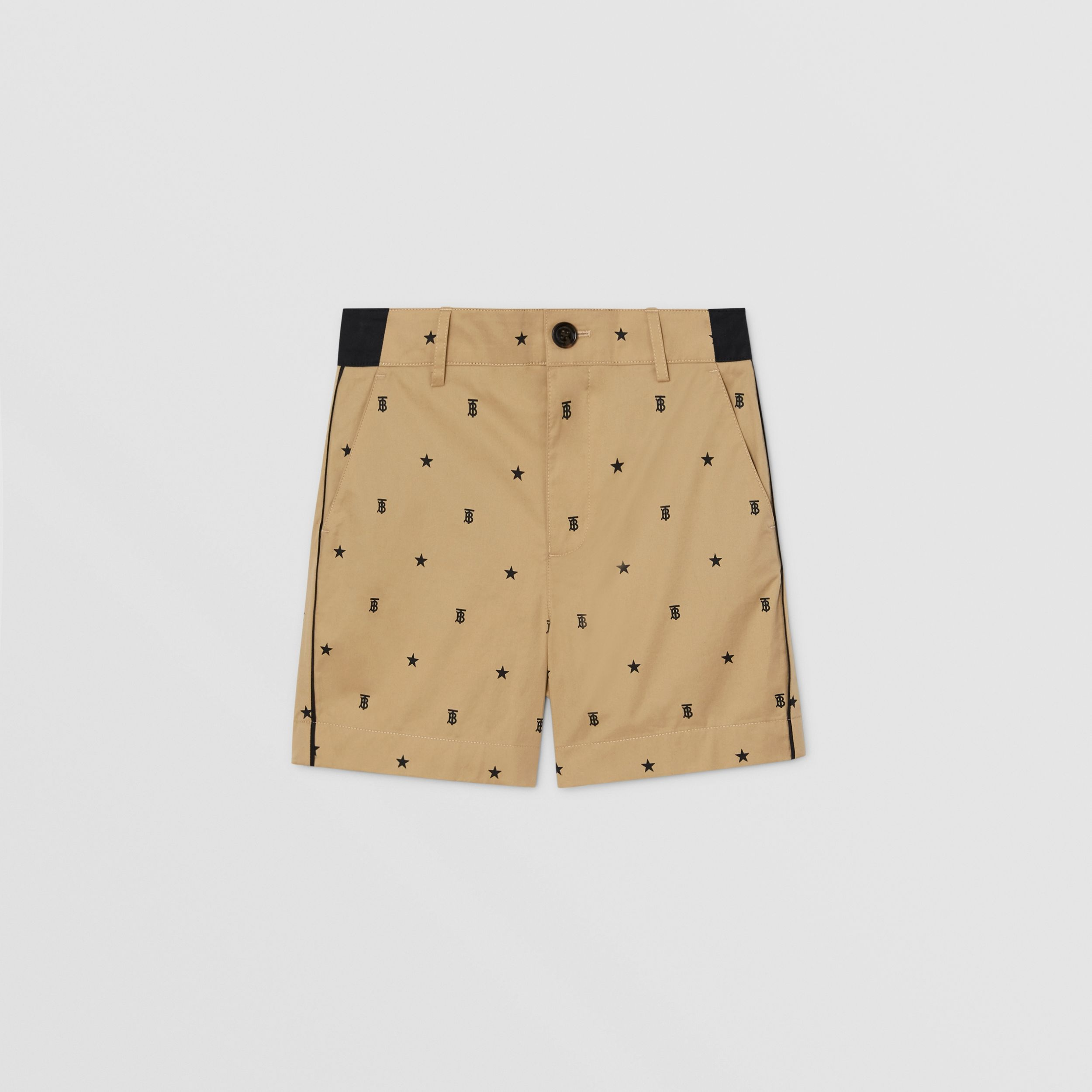 Star and Monogram Motif Tailored Shorts in Sand | Burberry - 1