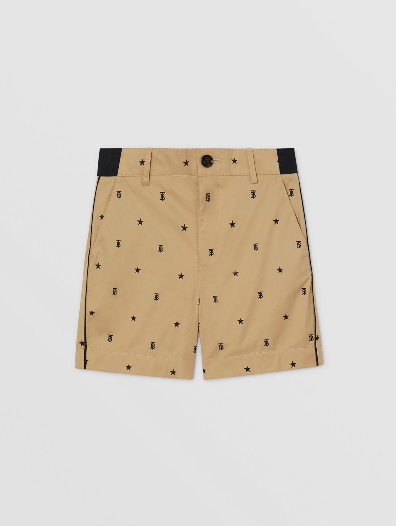 Star and Monogram Motif Tailored Shorts in Sand