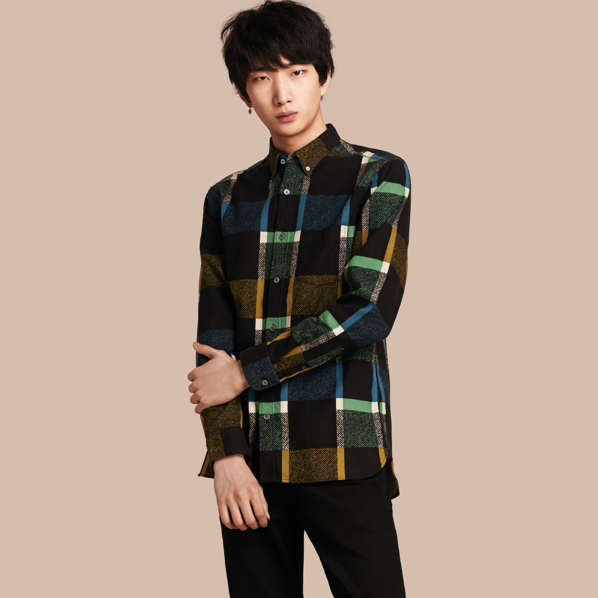 Racing green Check Print Cotton Blend Shirt - gallery image 1