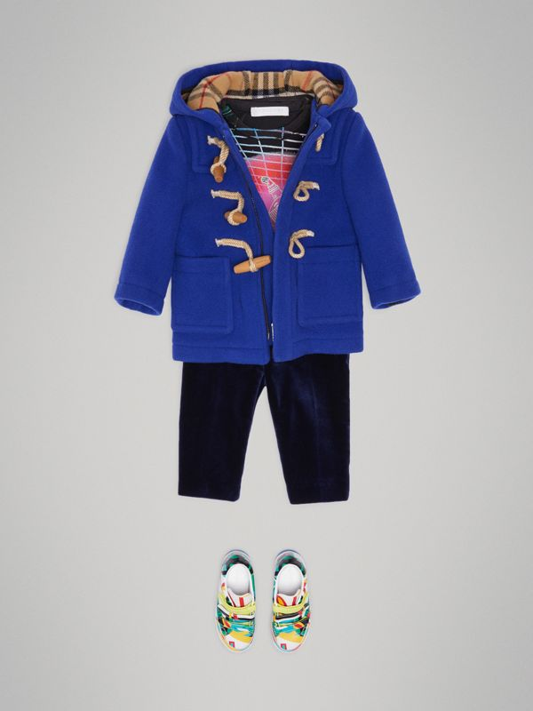 Boiled Wool Duffle Coat in Brilliant Blue - Children | Burberry - cell image 2