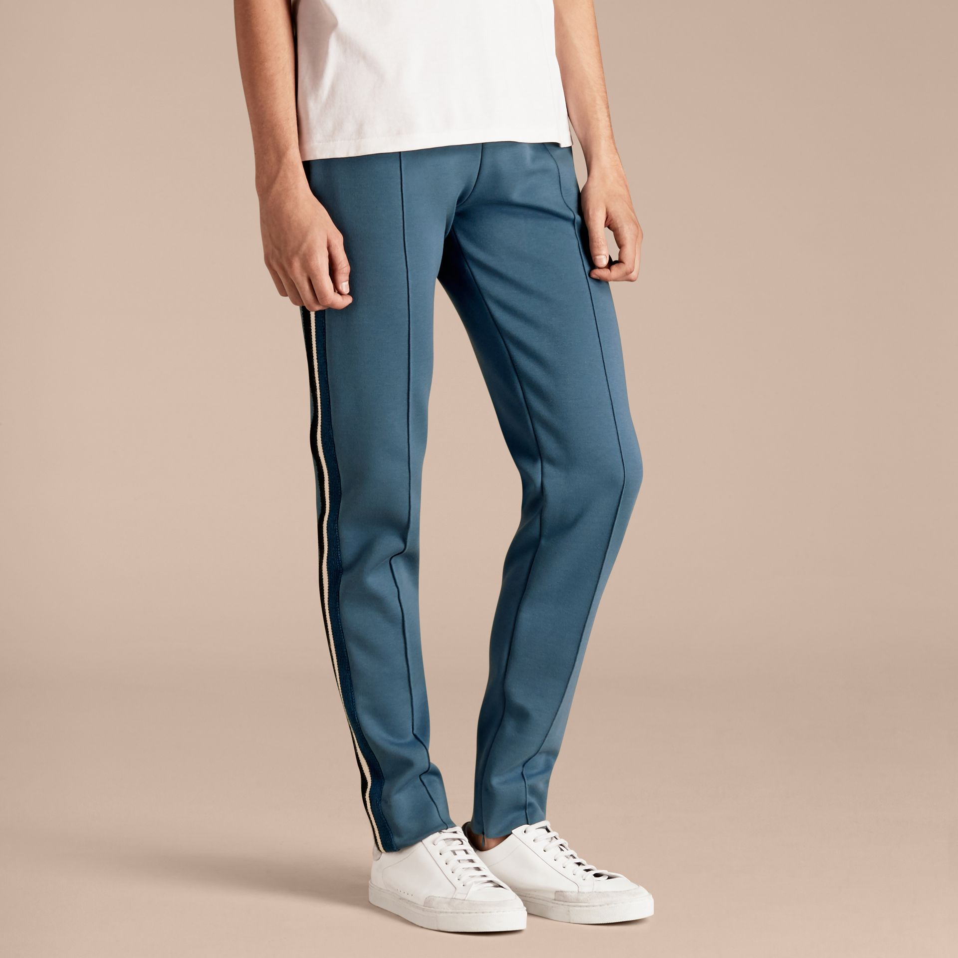 Sports-striped Cotton Blend Sweat Pants Mineral Blue - gallery image 6