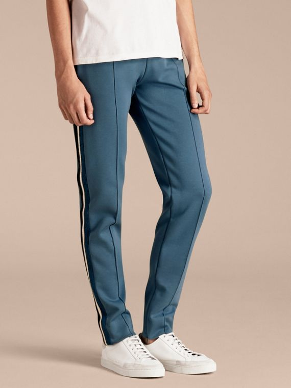 Sports-striped Cotton Blend Sweat Pants Mineral Blue