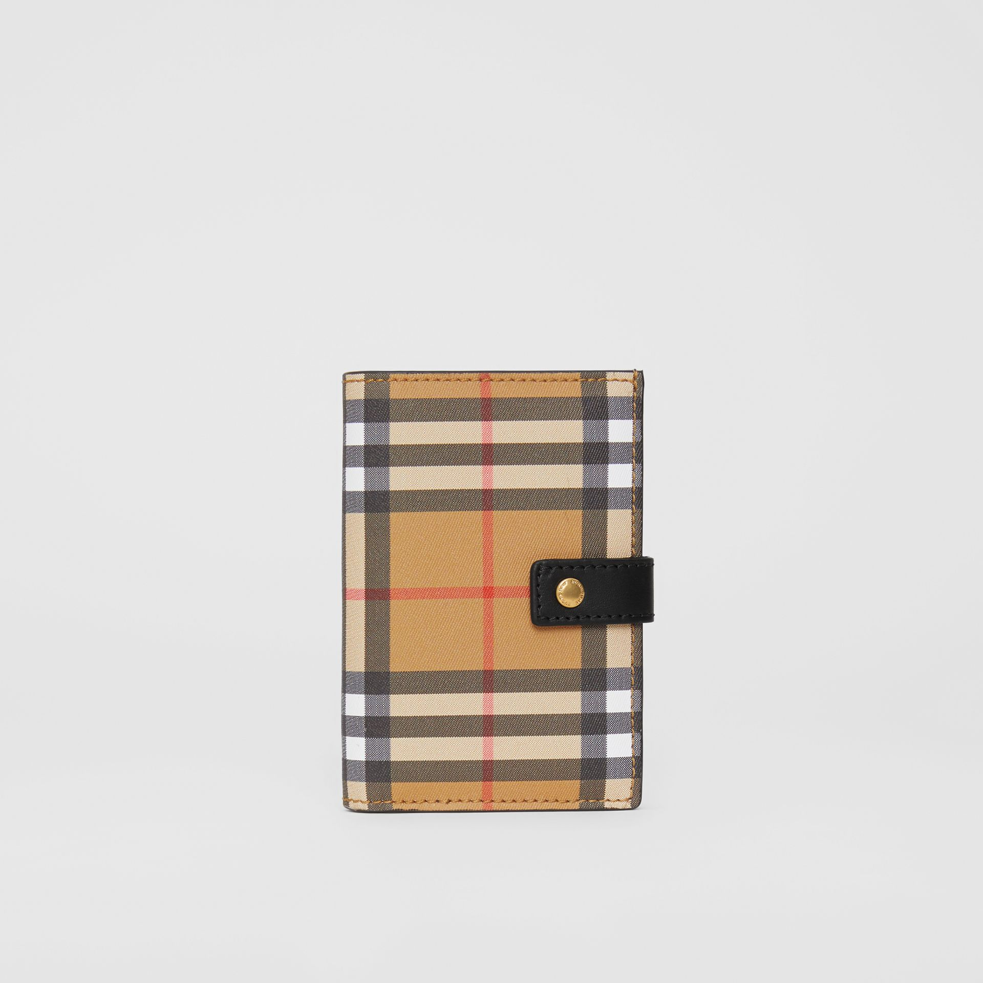 Vintage Check and Leather Folding Wallet in Black - Women | Burberry Canada - gallery image 2