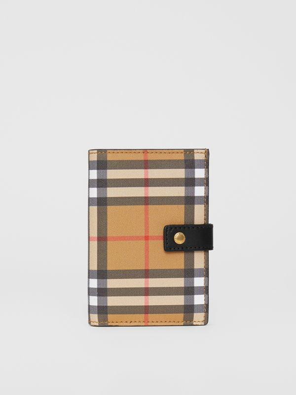Vintage Check and Leather Folding Wallet in Black - Women | Burberry Hong Kong S.A.R - cell image 2