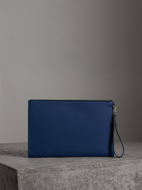 Grainy Leather Zip Pouch in Bright Ultramarine | Burberry Australia - cell image 2