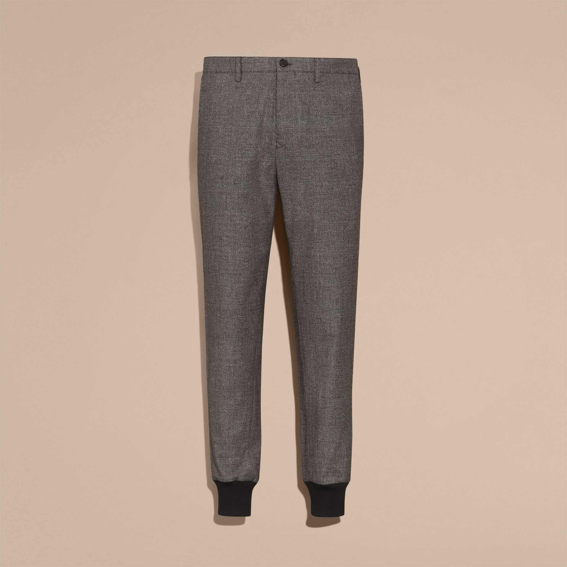 Prince of Wales Cotton Wool Trousers with Knit Cuffs - gallery image 4
