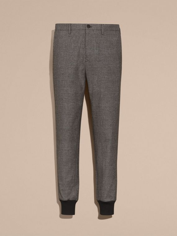 Prince of Wales Cotton Wool Trousers with Knit Cuffs - cell image 3