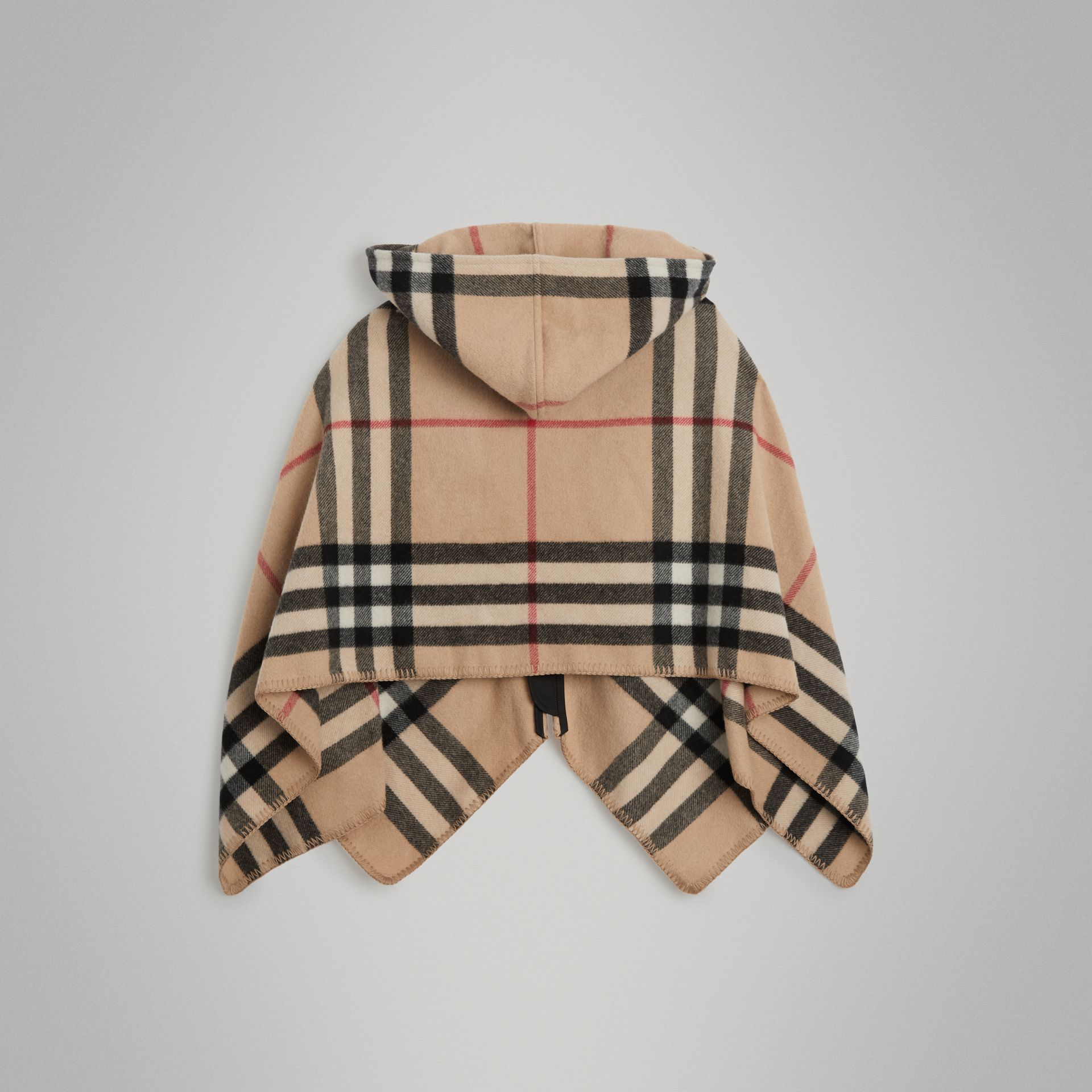 Check Wool Cashmere Hooded Poncho in New Classic | Burberry - gallery image 3