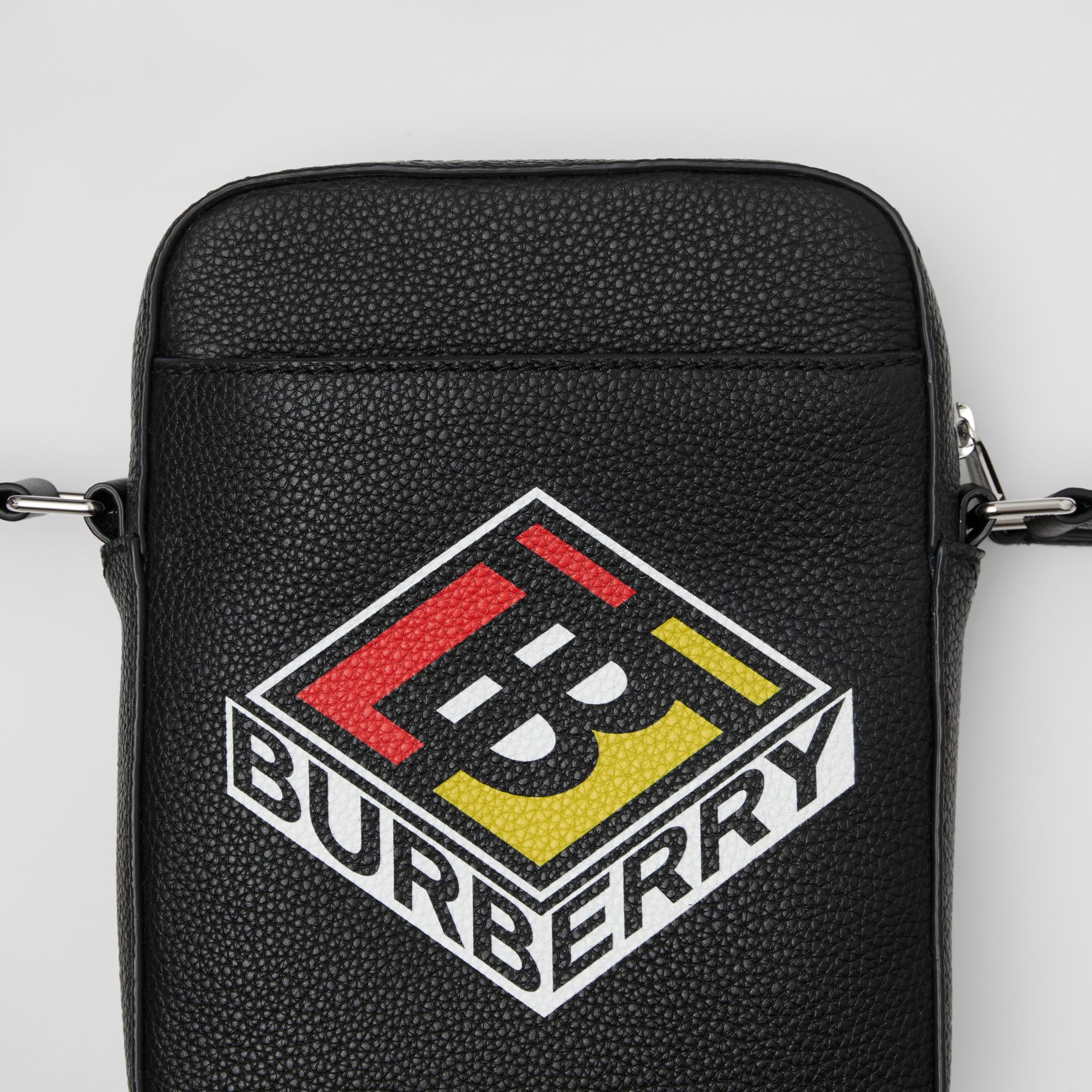 Logo Graphic Leather Crossbody Bag in Black - Men | Burberry - gallery image 1