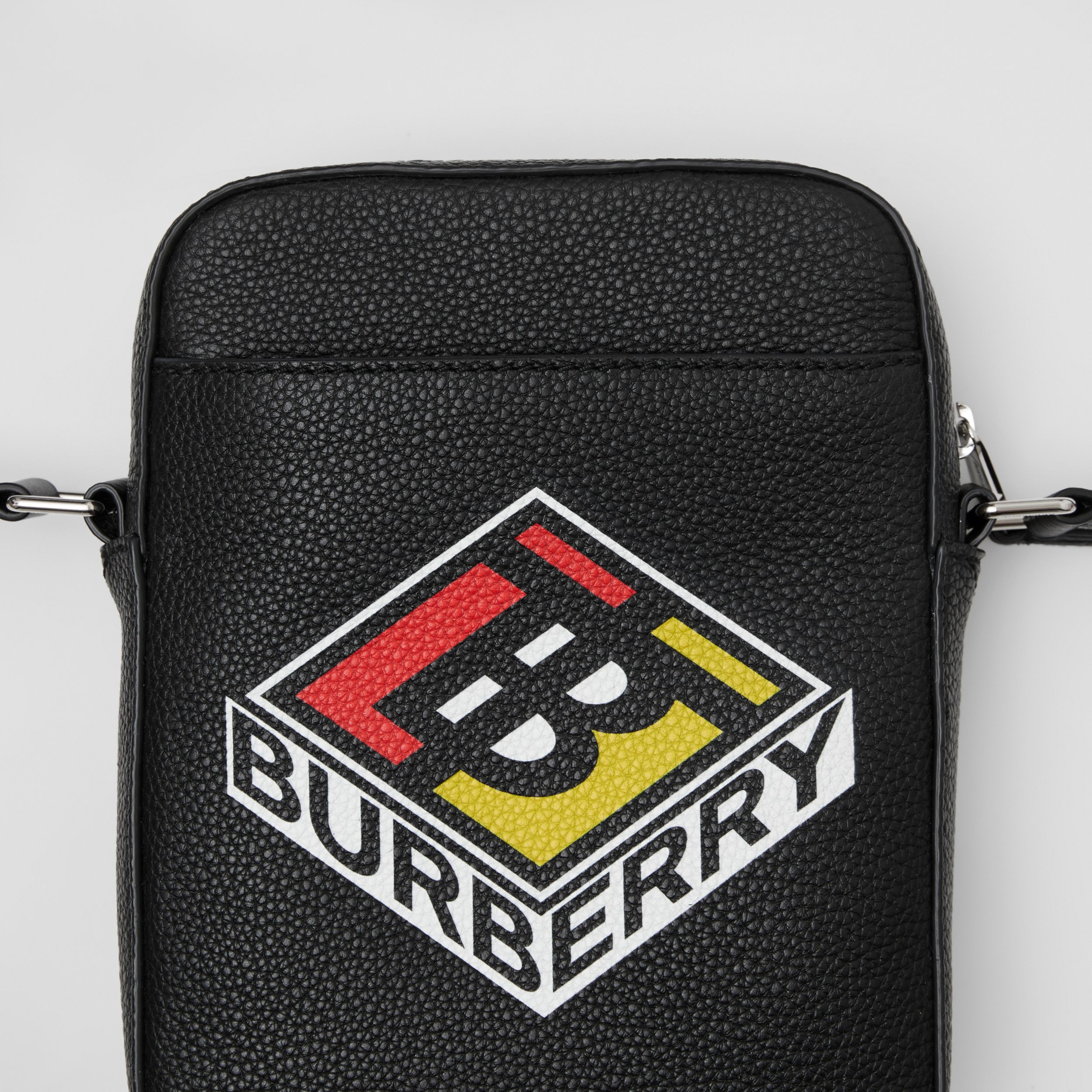 Logo Graphic Leather Crossbody Bag in Black - Men | Burberry - 2