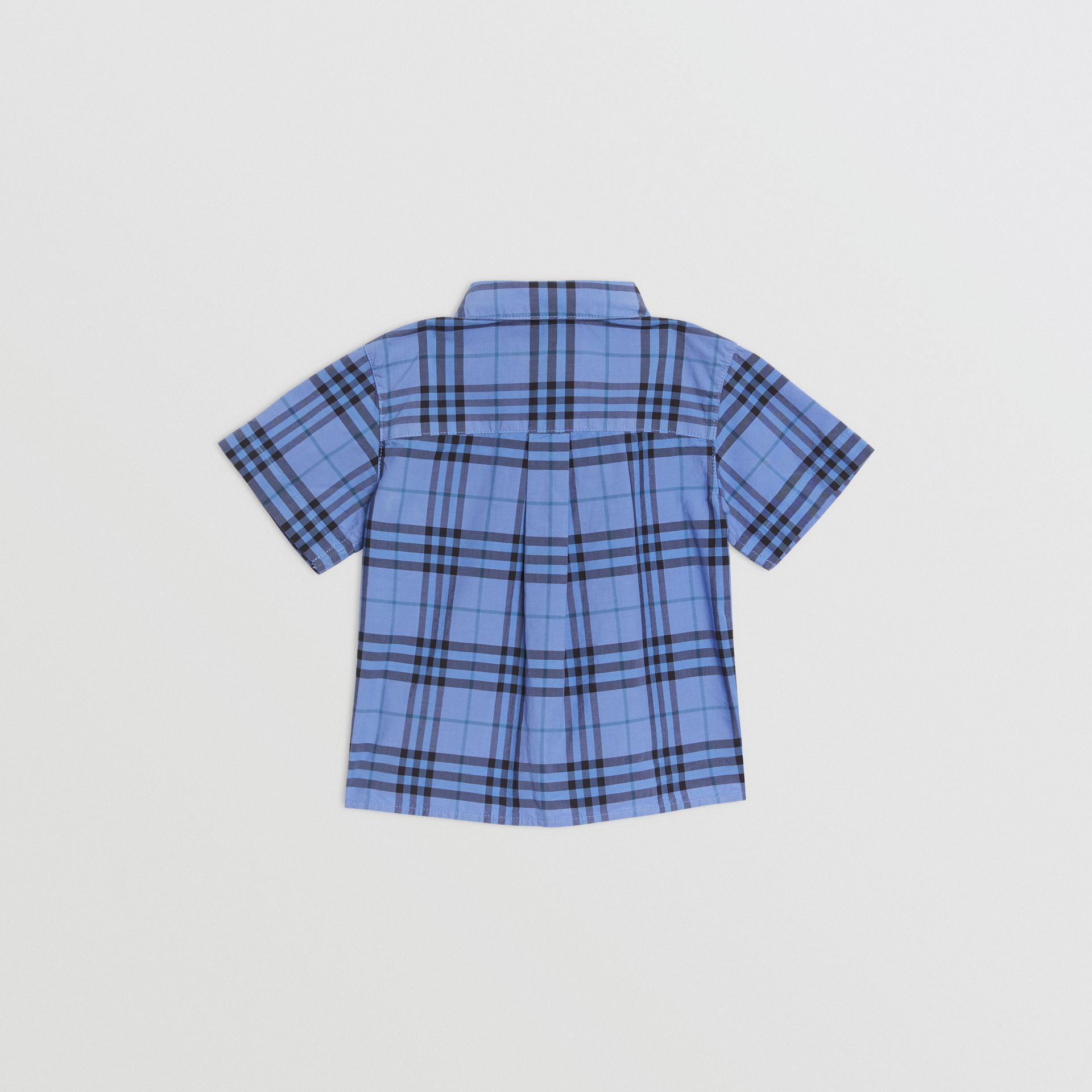Short-sleeve Check Cotton Shirt in Dusty Blue - Children | Burberry - gallery image 3