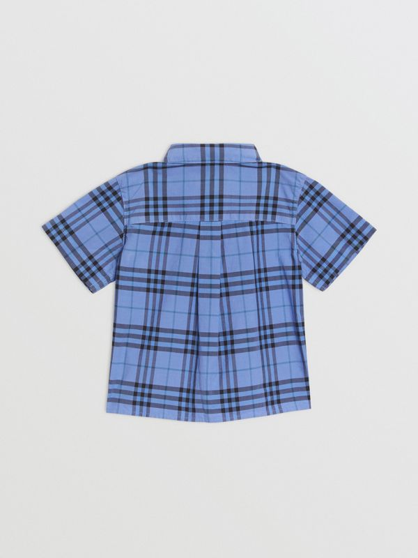 Short-sleeve Check Cotton Shirt in Dusty Blue - Children | Burberry - cell image 3