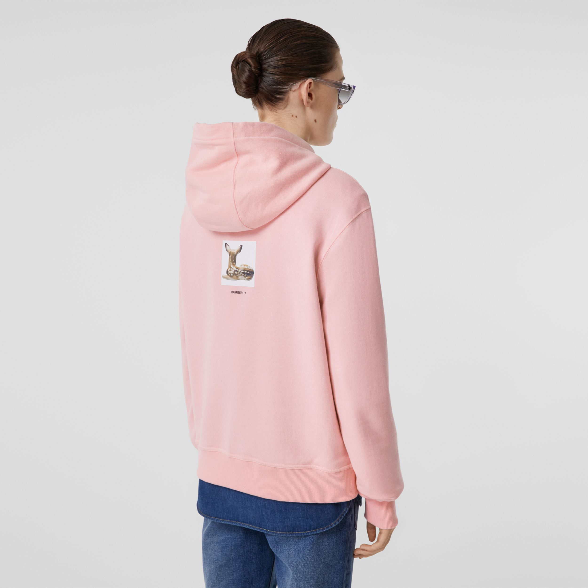 Deer Print Cotton Hoodie in Candy Pink - Women | Burberry United Kingdom - 3