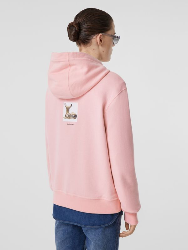 Deer Print Cotton Hoodie in Candy Pink - Women | Burberry Hong Kong S.A.R - cell image 2
