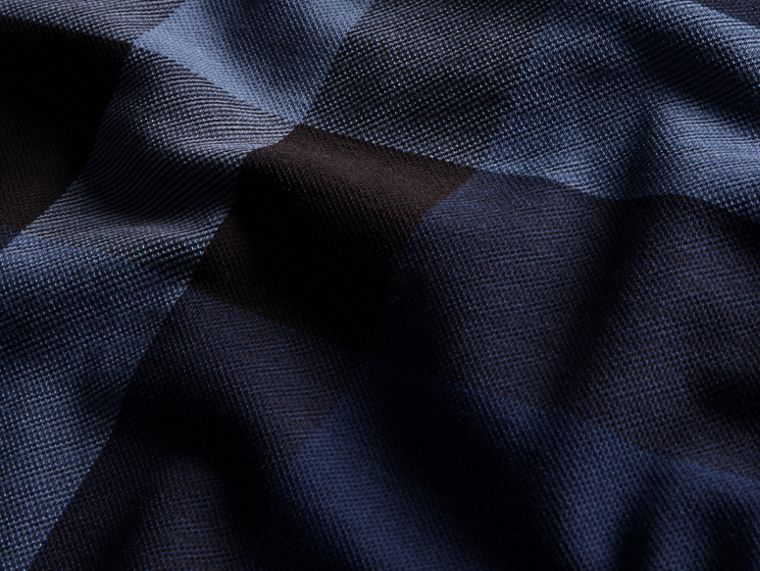 Mid indigo Check Stretch Cotton Piqué Polo Shirt Mid Indigo - cell image 1