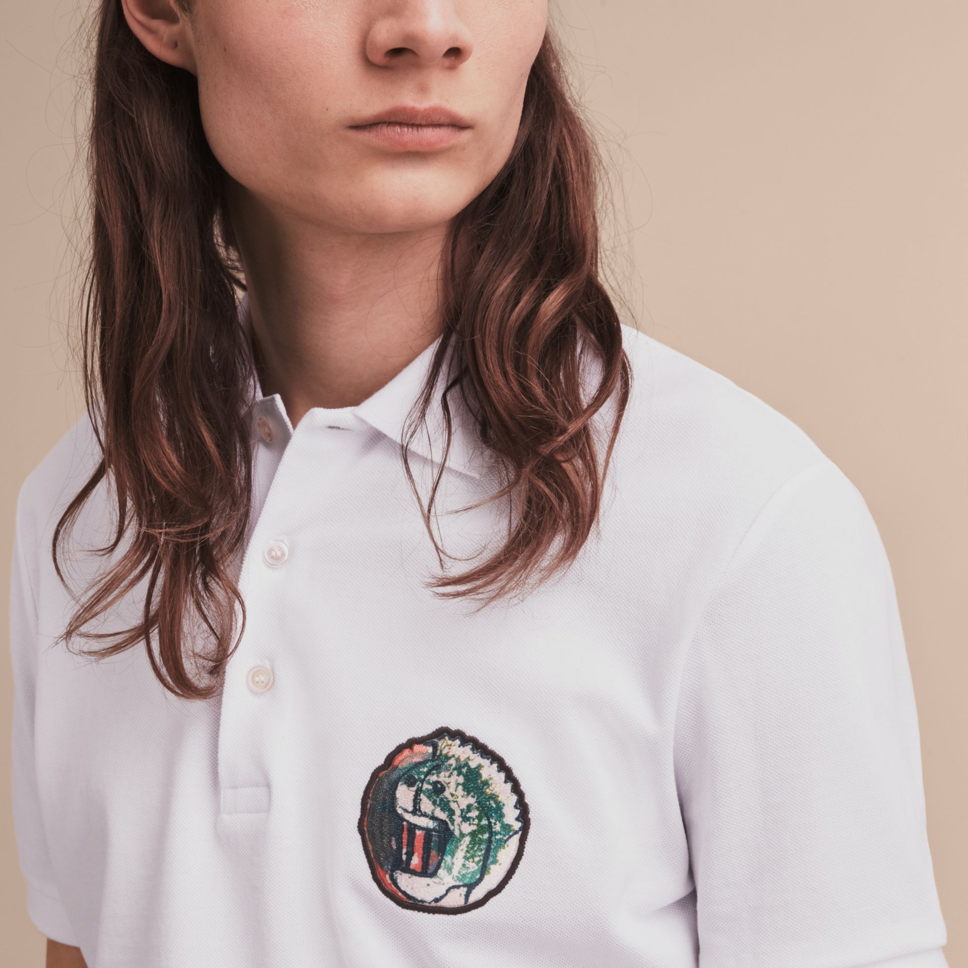 Pallas Heads Appliqué Cotton Polo Shirt in White - Men | Burberry Singapore - gallery image 5