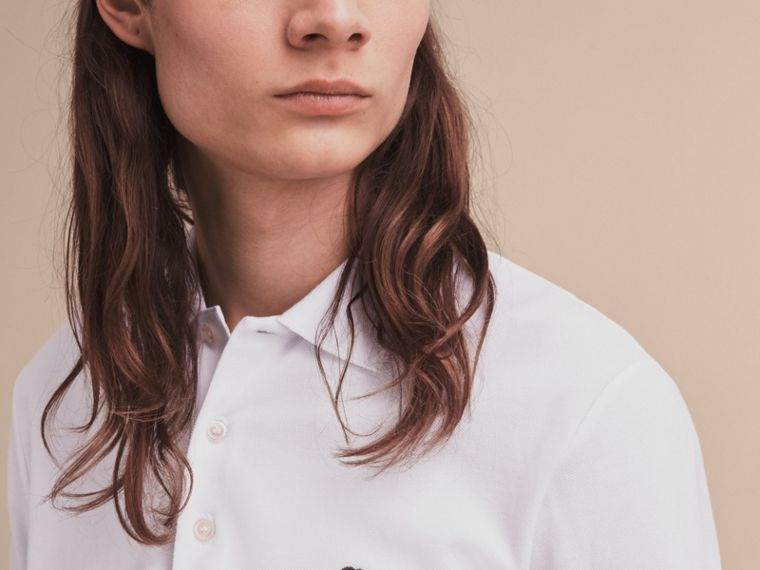 Pallas Heads Appliqué Cotton Polo Shirt in White - Men | Burberry Singapore - cell image 4