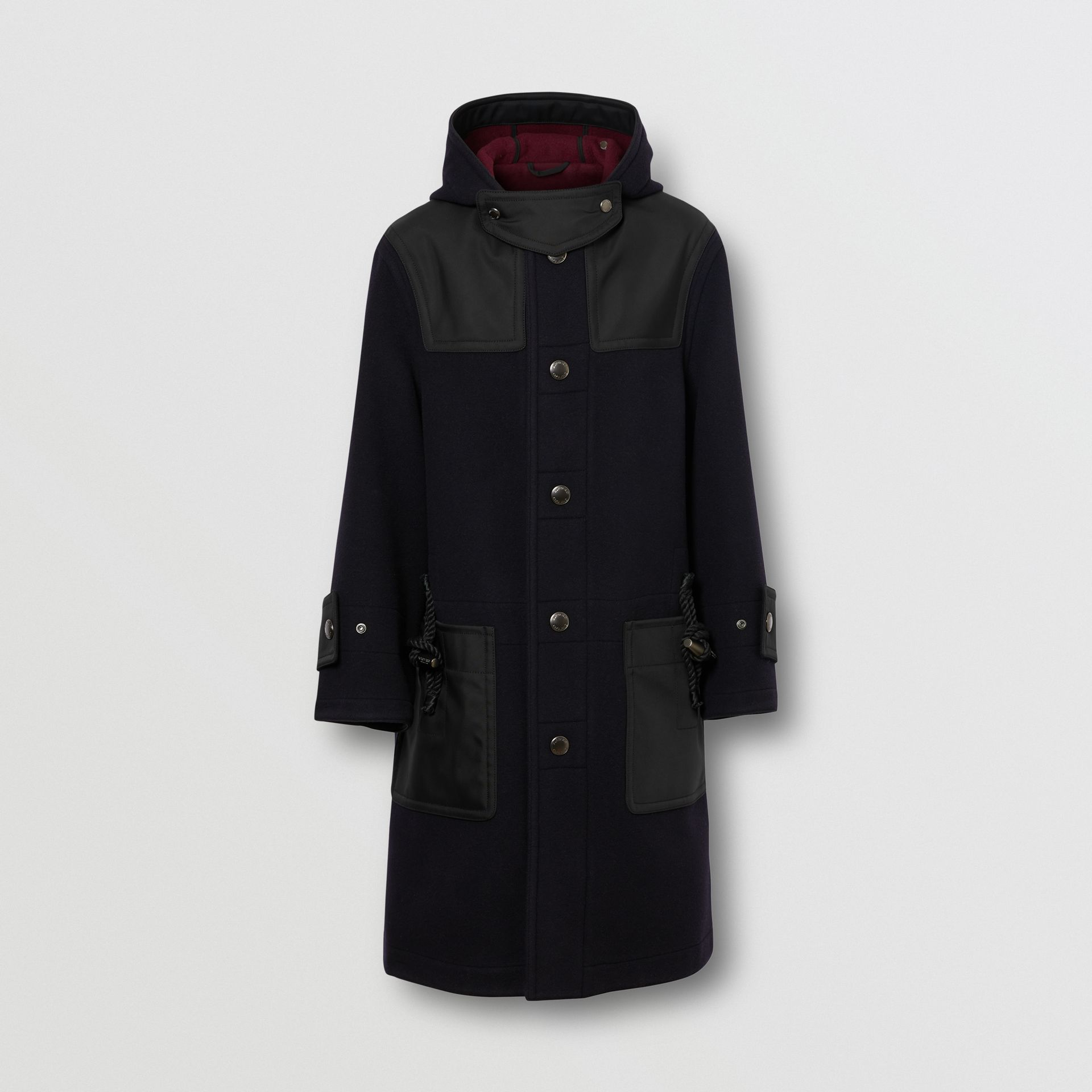 Double-faced Wool Blend Duffle Coat in Navy/burgundy - Men | Burberry - gallery image 3