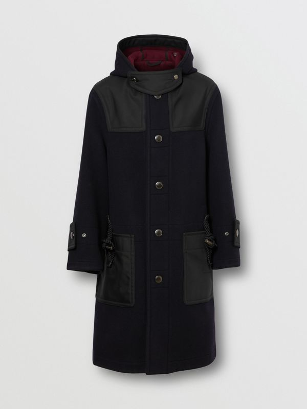Double-faced Wool Blend Duffle Coat in Navy/burgundy - Men | Burberry - cell image 3