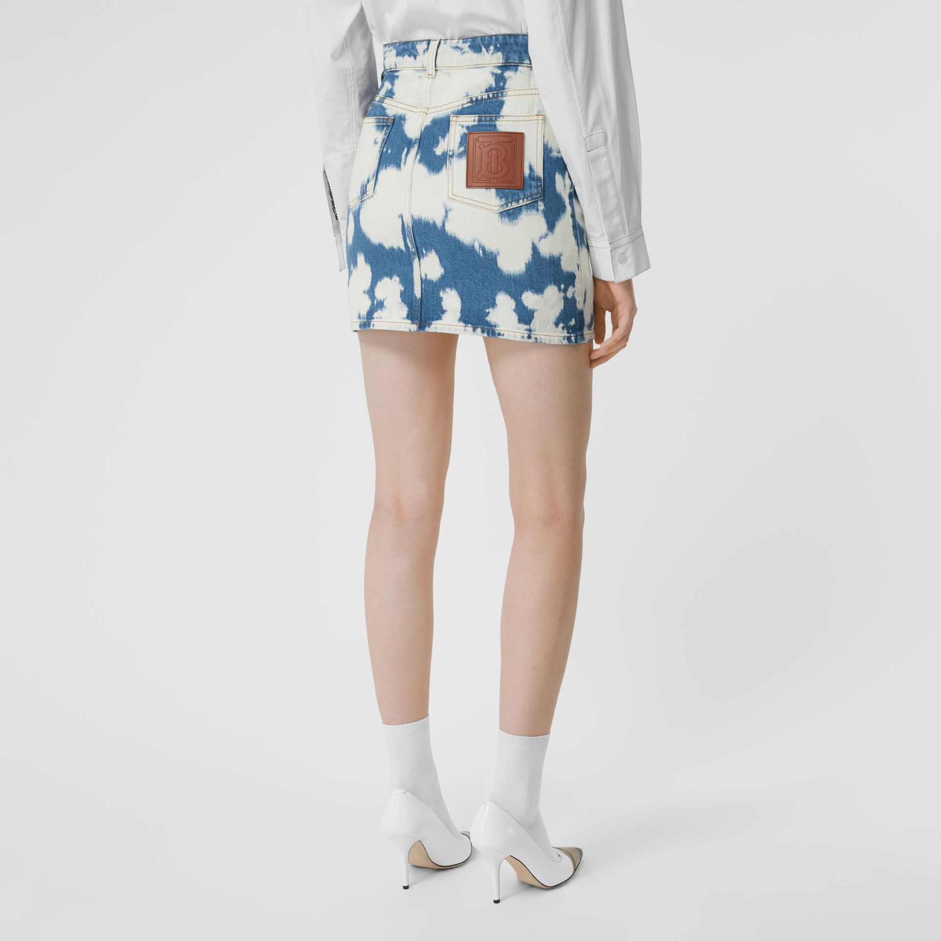 Monogram Motif Bleached Denim Mini Skirt in Blue - Women | Burberry - gallery image 2