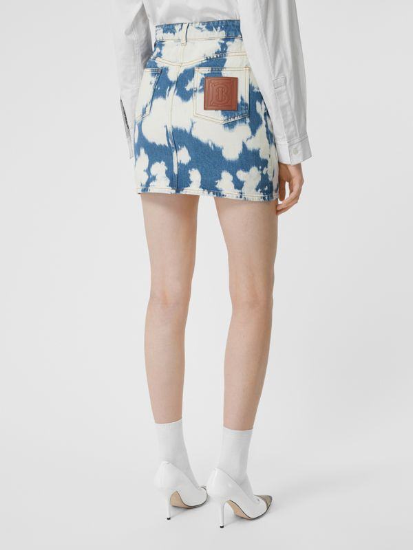 Monogram Motif Bleached Denim Mini Skirt in Blue - Women | Burberry - cell image 2