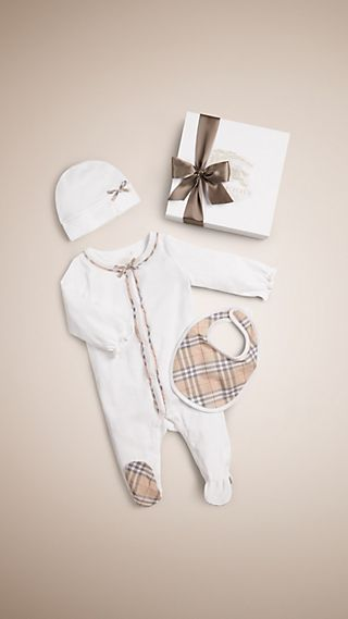 Check Cotton Three-piece Baby Gift Set