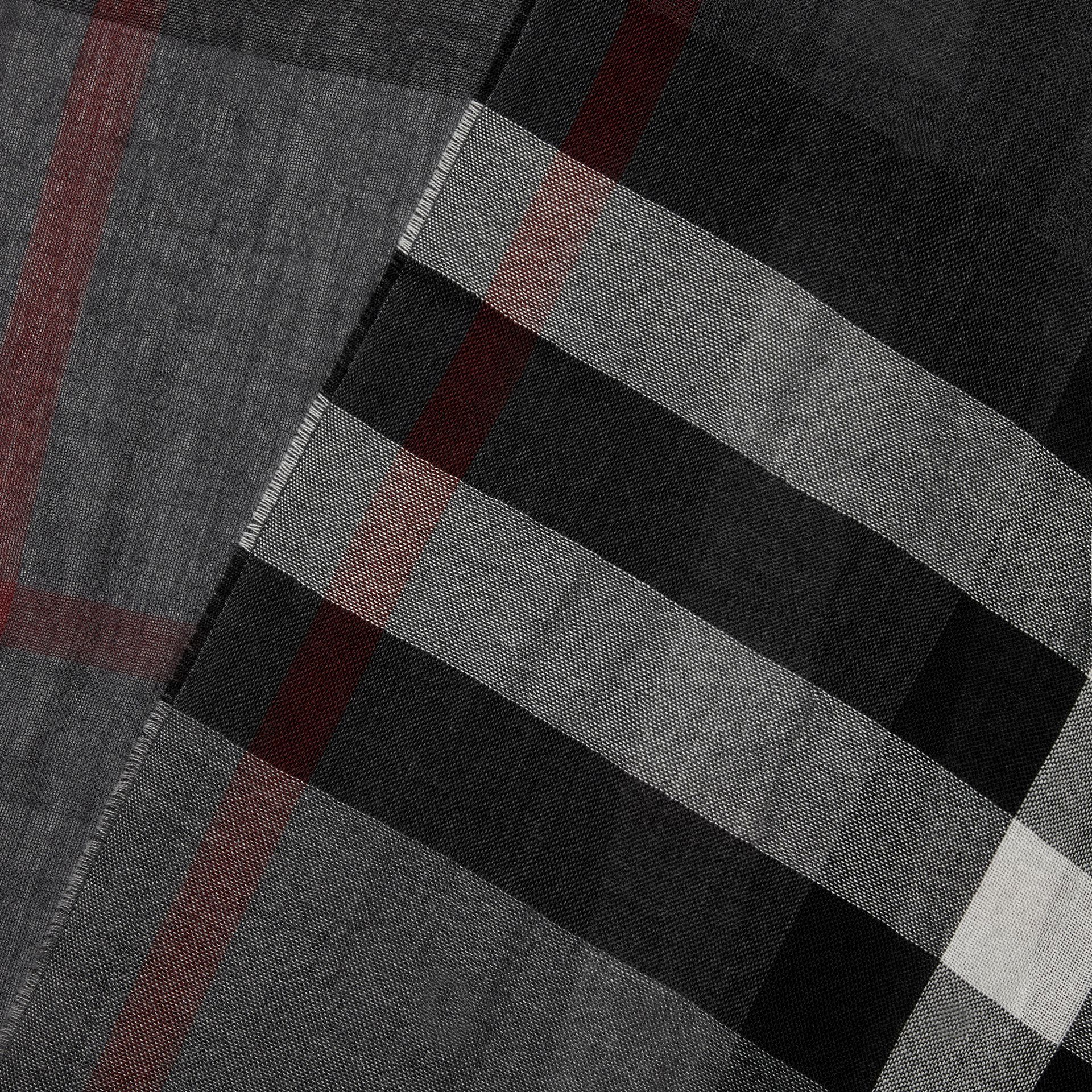 Lightweight Check Wool Cashmere Scarf in Charcoal | Burberry Australia - gallery image 1