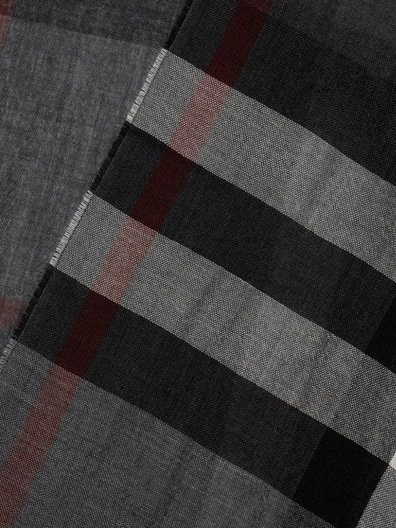 Lightweight Check Wool Cashmere Scarf in Charcoal | Burberry Australia - cell image 1