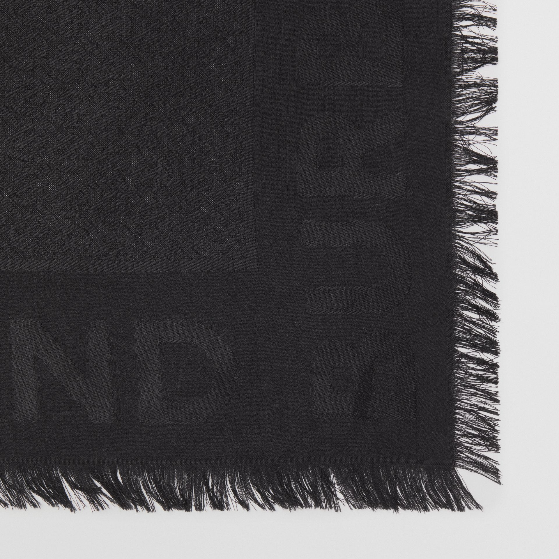 Monogram Silk Wool Jacquard Large Square Scarf in Black | Burberry United Kingdom - gallery image 1